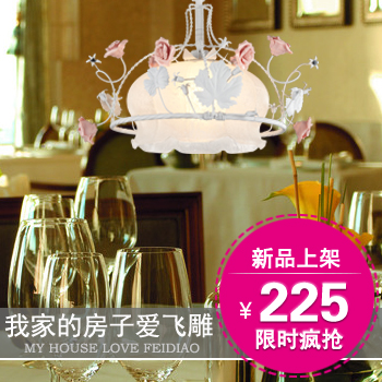 2014 seconds kill sale pink red flowers pendant feidiao single head light flower restaurant glass kitchen lighting rustic lamp(China (Mainland))