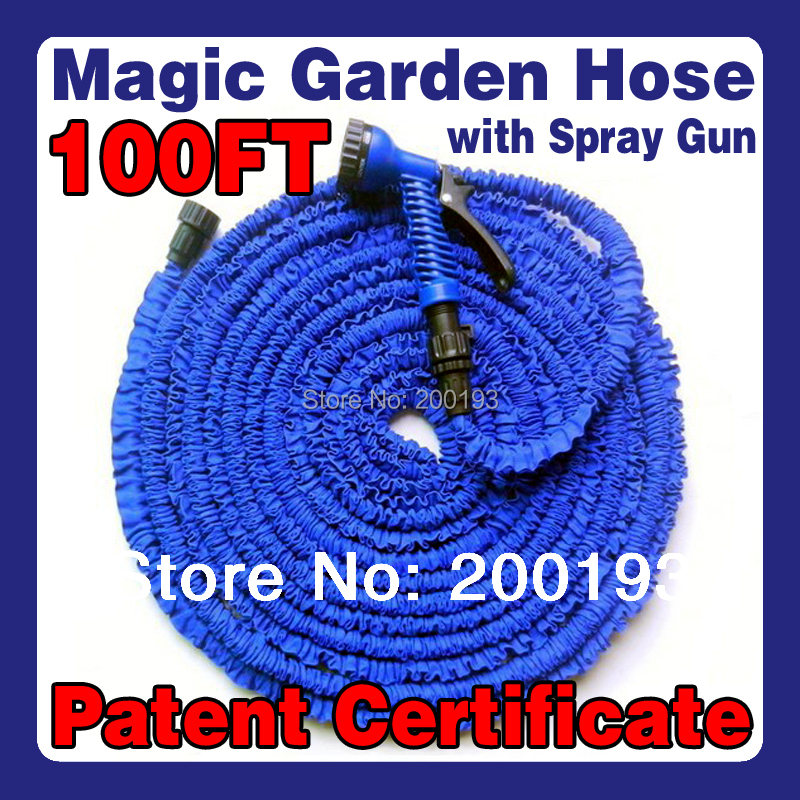 [TOP QUALITY] FAST Free Shipping After Stretched Working Lenght 30M Plastic Connector 100FT Blue Garden Water Hose+Spray Gun(China (Mainland))