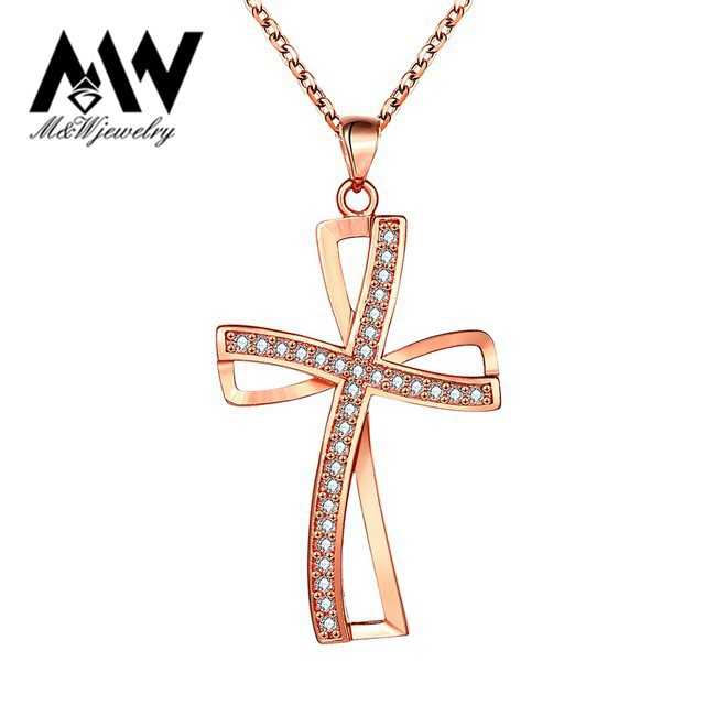 Top Quality Cubic Zircon Crystal Cross Pendant Necklace 18K Gold Plated Women Accessories Jewelry