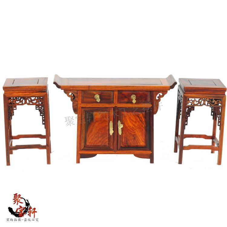 Wood carving classical become warped head even three tables Annatto miniature crafts household act the role ofing tasted(China (Mainland))