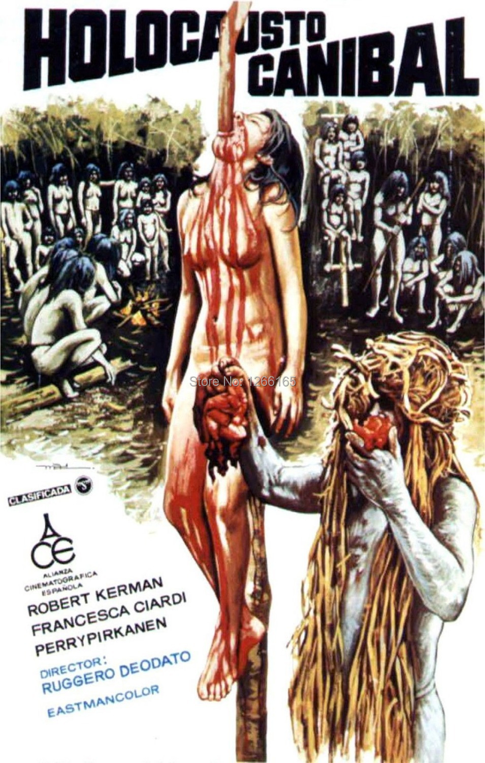 CANNIBAL HOLOCAUST Movie Poster <font><b>Italian</b></font> Horror Gore Deodato BANNED <font><b>Home</b></font> <font><b>Decoration</b></font> 12x18 24x36 inch.