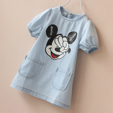 2016 Summer Mickey Girls Cotton Dresses Jeans T shirt Dresses Baby Girl Mickey Dress Costume Cute Kids Dress for Girls T-shirt