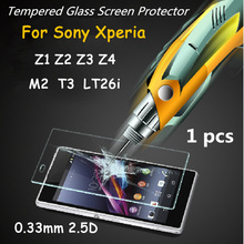 New Arrival 0.33mm 2.5D Arc Edge Explosion-proof Tempered Glass Screen Protector for Sony Xperia Z1 Z2 Z3 Z4 M2 T3 LT26i