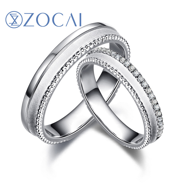ZOCAI One Pair 0.13 CT Certified Diamond Wedding Bands18K White Gold (Au 750) Women and Men Wedding Ring<br><br>Aliexpress
