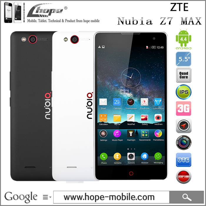 "Original ZTE Nubia Z7 MAX Qualcomm MSM8974AC 2.5GHz 4G LTE Cell Phone 5.5"" FHD Android 4.4 2GB RAM 32GB ROM 13.0MP GPS OTG(China (Mainland))"