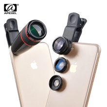Buy Apexel phone Camera Lens kit 12X Telephoto zoom lens& Fisheye lente&Wide-Angle&Macro Lens iphone 6s 7 plus SamSung Xiaomi for $17.99 in AliExpress store