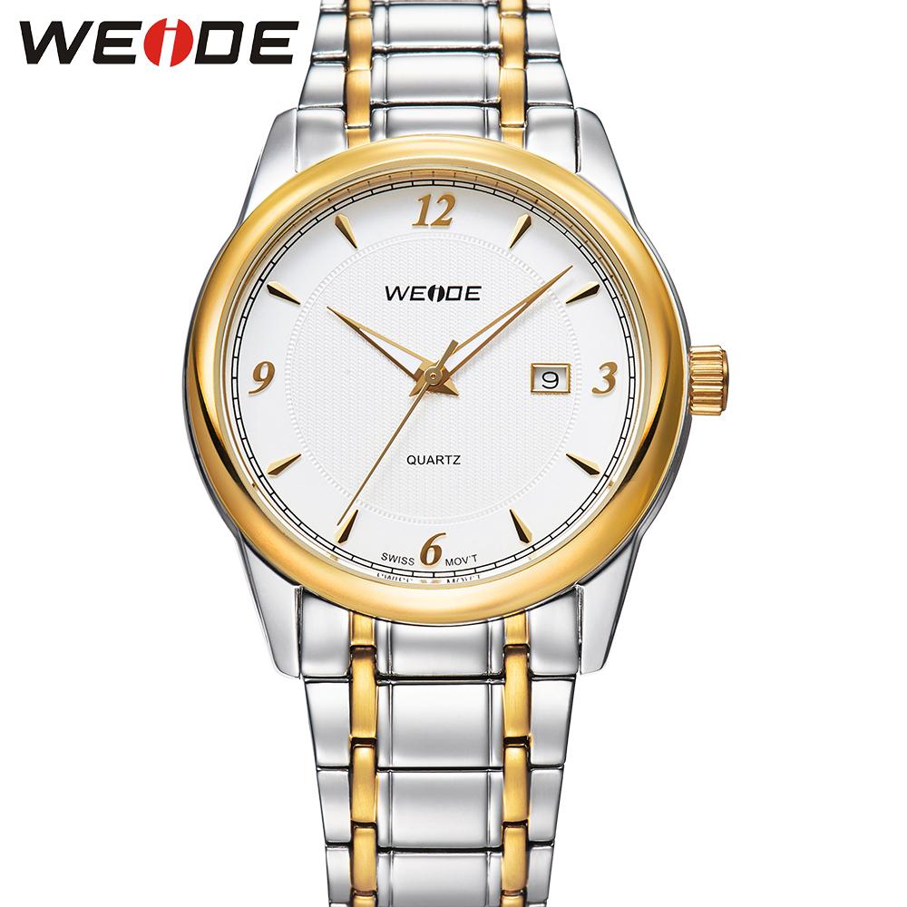 WEIDE Original Brand White Gold Watch Stainless Steel Men Analog Display Quartz Movement Water Resistance Male Clock Relojes<br><br>Aliexpress