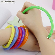 10pcs Flexible Ball Pen Cute Soft Plastic Bangle Bracelet Ballpoint Pens School Office Gifts