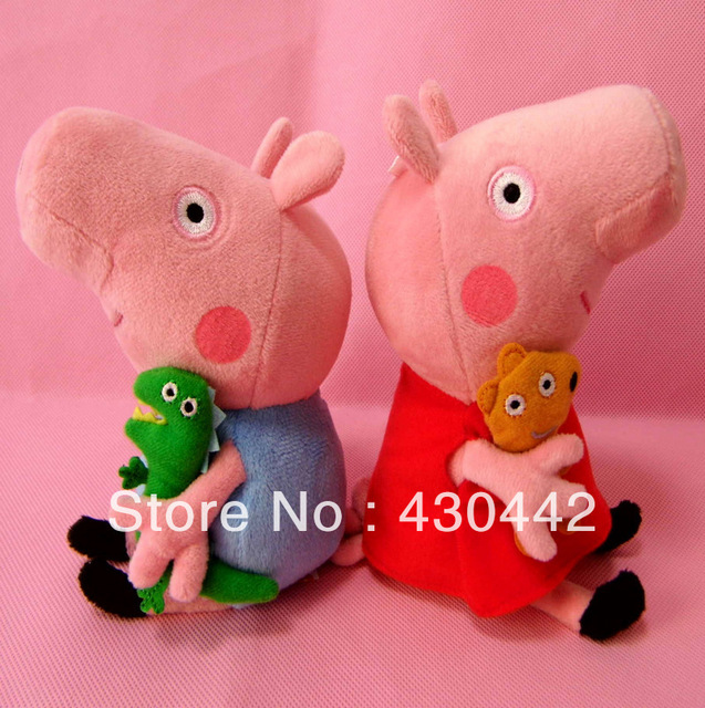 Wholesale peppa pig & george pig pink cartoon stuffed plush kids toddler toys 8 inches Free Shipping