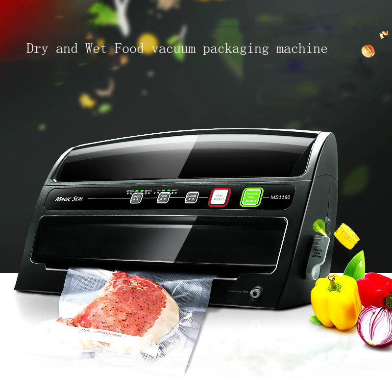 Free DHL 1pc MS1160 Automatic Dry+Wet Vacuum Food Sealer,household food preservation, Multi-function vacuum film sealing machine(China (Mainland))