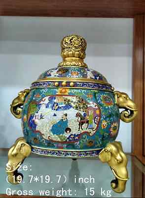 Exquisite Chinese gold-plated copper cloisonne mythical figure elephant incense burner(China (Mainland))