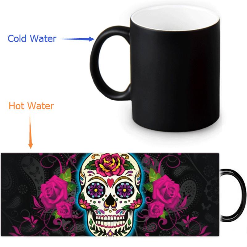 Free shipping 12 OZ/350ml Sugar Skull Heat Sensitive Mug Color change Ceramice Morphing Mugs(China (Mainland))