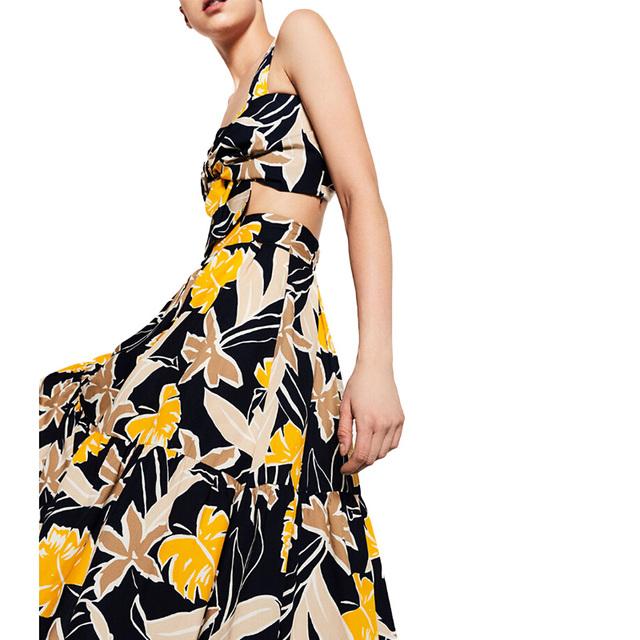 Женщины сладкий цветочный плиссе Среднийi юбка эластичный пояс дамы летняя мода Европейский ...