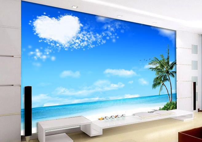 Popular beach wall mural buy cheap beach wall mural lots for Beach wall mural cheap