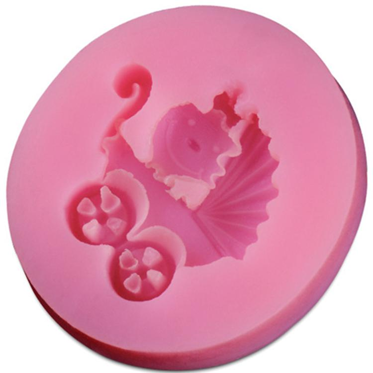 Sticking Cake Decorations On Fondant : 3D Silicone baby carriage stroller Mold Fondant Non-Stick ...