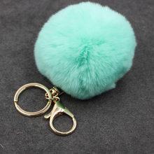 Grande de Couro Falso 8 cm Saco Bulbo Capilar Bola Pom pom PomPom Pele de Coelho KeyChain Chave Pingente Cadeia de Porte Clef para As Mulheres Adorável Fluffy(China)
