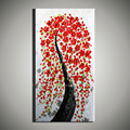 Large canvas wall art Abstractas modern acrylic red Flower tree knife painting Canvas picture for living