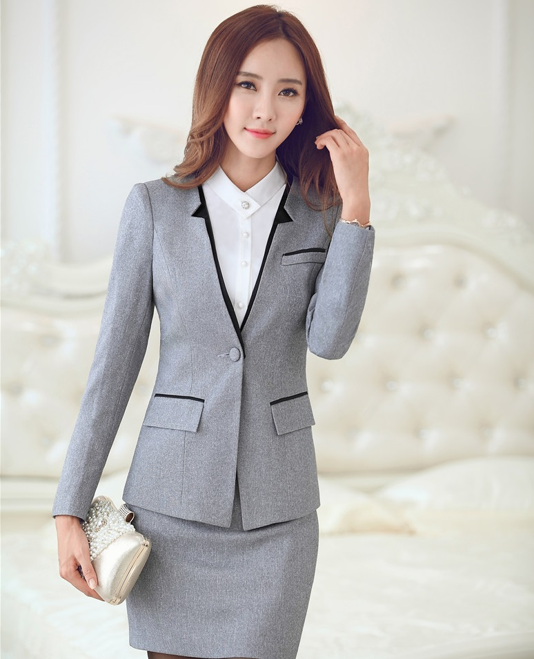 Elegant Suit Jacket And Skirt 2015 New Women Business Work Wear Ladies Office