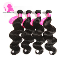 8A Fashow Hair Indian Virgin Hair Body Wave 4 Bundles Indian Body Wave Real Remy Human Hair Weave 8- 30 inch Indian Hair Bundles(China (Mainland))