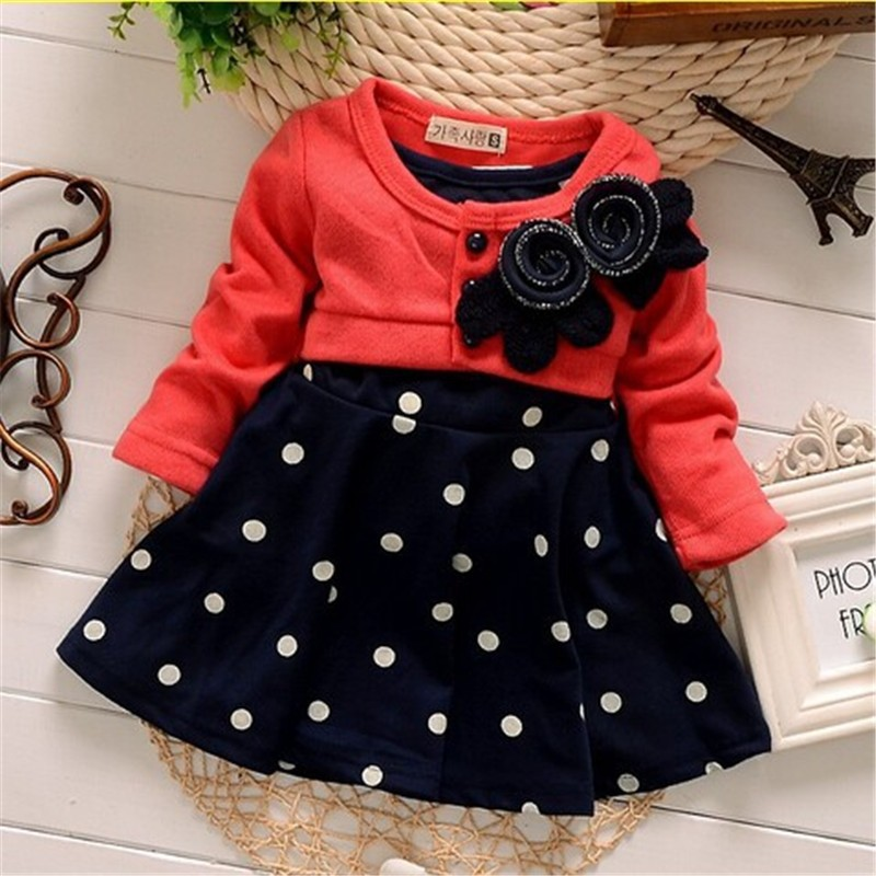 new fashion 100% Cotton Baby girl christmas dresses clothes Kids Children's Lovely princess Two Tones Splicing Polka Dots Dress(China (Mainland))