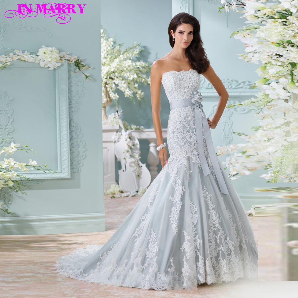 Lace Wedding Dress With Blue Sash - Wedding Dresses In Redlands