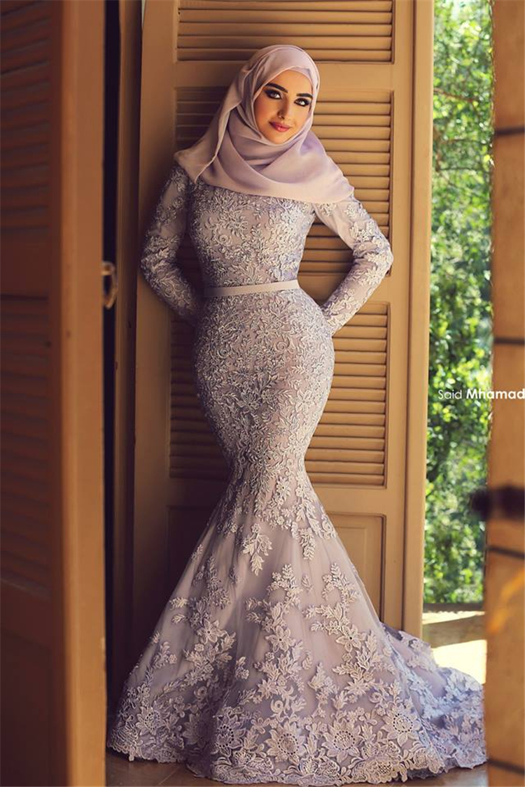 Muslim lace mermaid wedding dress hijab 2015 long sleeve for Long sleeve beaded wedding dress