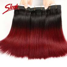 Sleek 8A Brazilian Virgin Hair 1B/Red Weave Bundle 10 inch 12 14 16 Stock Ombre Human - Official Store store