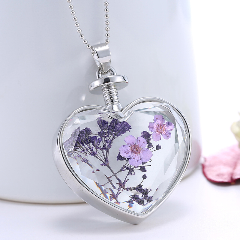 Brand Glass Heart Long Necklace For Women Purple Flower Silver Chain Necklaces & Pendants Jewelry Gift For Girl 365037(China (Mainland))