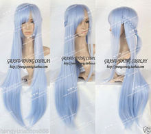 Heat Resistant Cosplay party TJ ***** HOT Sell! NEW Sword Art Online Asuna Yuuki Violet Long Ice Blue Wig - jewe store