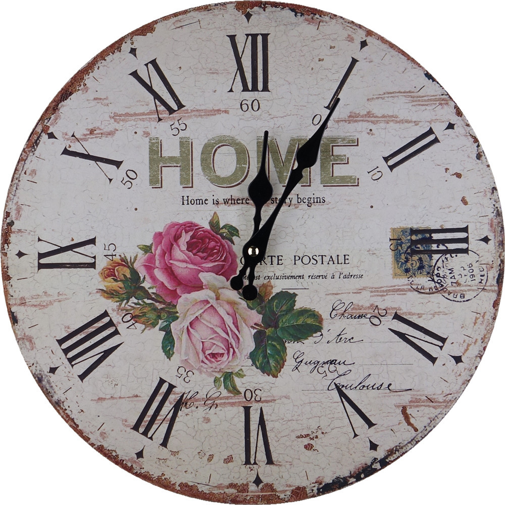 antique vintage rustic MDF wood wall clock on the wall for home decor(China (Mainland))