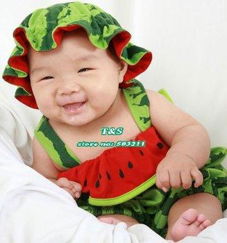 6 pcs/lot Watermelon design baby boy rompers,toddler baby watermelon suit,infant romper for summer,100% cotton,size 6-36M
