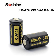 Soshine LiFePO4 CR2 3.0V 400mAh Rechargeable Battery (2 pcs)