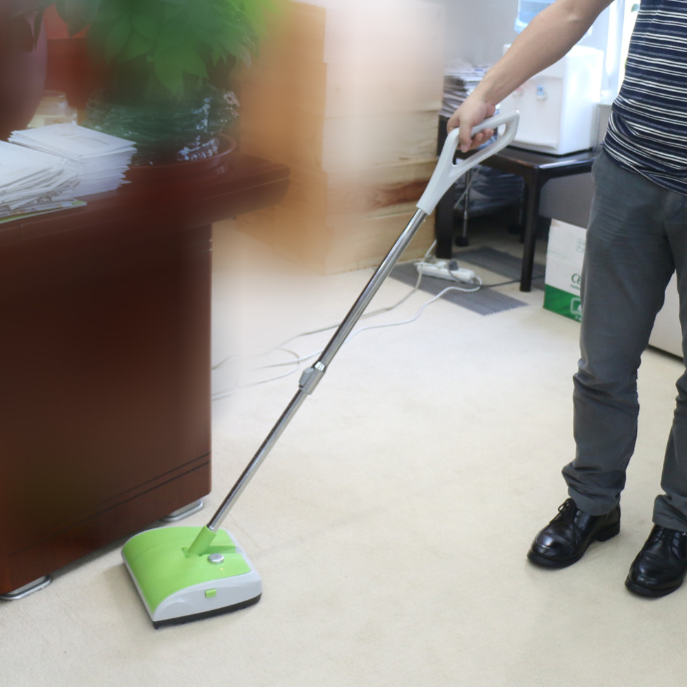 Double Brush Wheel Sweeper Dry Hard Floor Carpet Cleaner Rechargeable Plastic(China (Mainland))