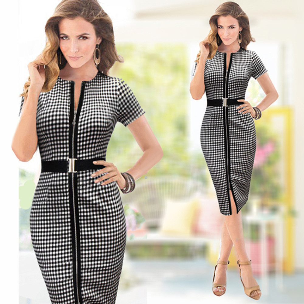 Fashion Women Summer Dress Casual Vintage Bodycon Pencil Plaid Midi Dresses Elegant Office