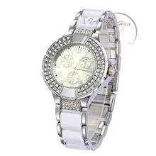 Pulsera de cadena de cerámica correa de lujo brillante cristal dama Reloj de pulsera de moda Retro para Mujer Reloj Montre Femme Reloj Mujer