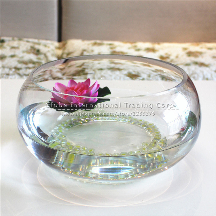 Circular transparent glass goldfish bowl cylinder tortoise household vase hydroponic vessels gift wedding home decoration(China (Mainland))