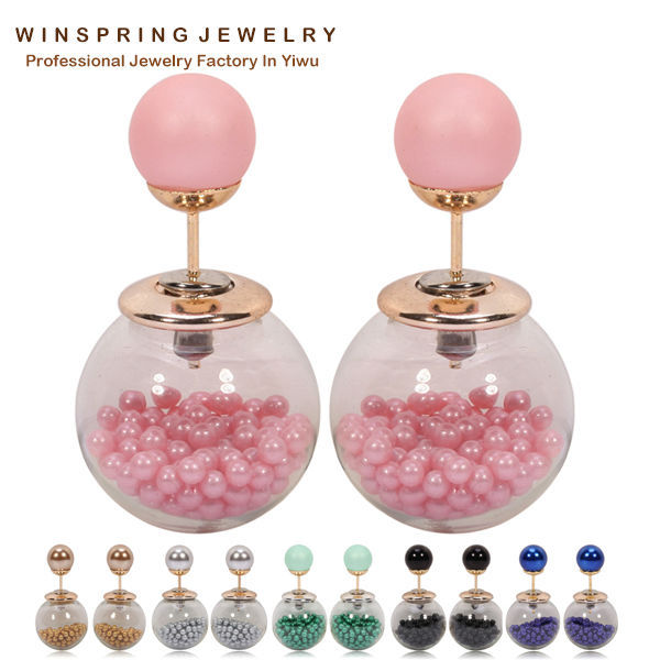 New Summer Design Glass Ball Pink Pearl Earrings Women Fashion Glass Jewelry Pink Pearl Earrings(China (Mainland))