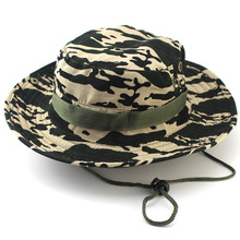 19 Colors 2015 Hot Sale Summer Men Military Camo Bucket Hat with Strings Camping Hiking Travel Sniper Wide Brim Boonie Hat(China (Mainland))