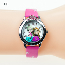 2017 New Cartoon Children' Watch Cute Princess Elsa Crystal Wristwatch Fashion Girls Kids leather Quarts Watches Sports Clock(China (Mainland))