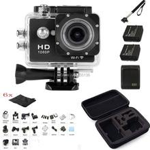 Monopod + Bag + Battery Charger + SJ6000 2.0″  LCD WIFI 1080P HD Sports Action Camera DVR Video Waterproof Camera DV  W9 Black