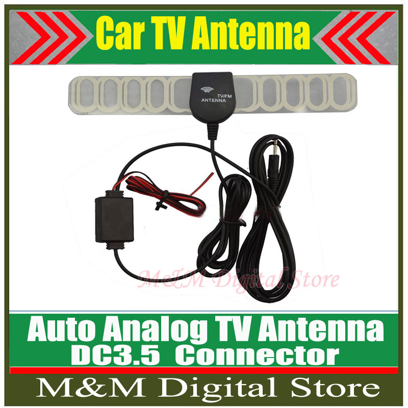 Hot!!!Factory Price Car Anolog TV Antenna Car TV Antenna TV aerial with amplifier booster DC3.5 connector free shipping(China (Mainland))