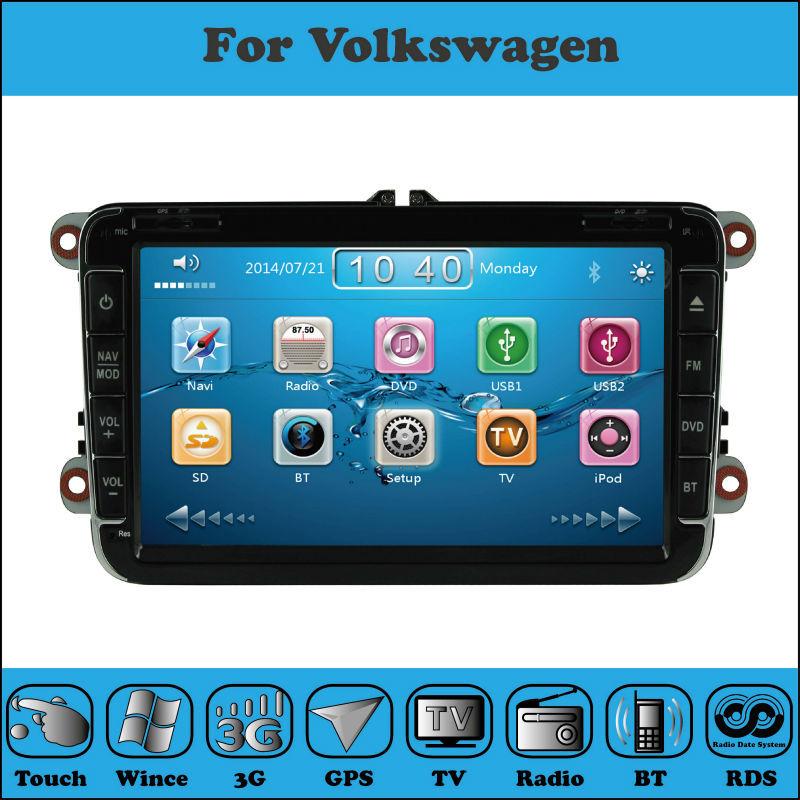 2 Din 8 Inch Car DVD Player For VW/Volkswagen/TIGUAN/MAGOTAN/PASSAT/Golf With WIFI 3G Host GPS 1080P BT IPOD TV FM Free Map(China (Mainland))