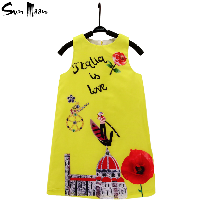 High quality girl dress sleeveless kids clothes new flower princess party dress boutique summer children clothing 2-10Y vestido(China (Mainland))