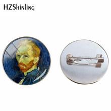 Vintage di Van Gogh Dipinti Ad Olio Cabochon Spilla Spille Notte Stellata Pittura Gioielli Spilli Girasole Spille Accessori di Abbigliamento(China)