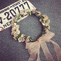 2016 New Handmade Cute Bohemian Flower Headband Woman Girls Wedding Party Hair Accessories Bride Flower Garland