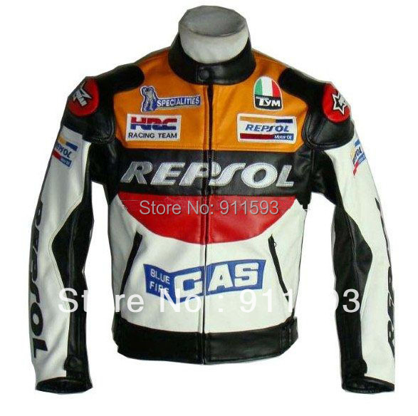Moto GP font b motorcycle b font REPSOL font b Racing b font Leather font b
