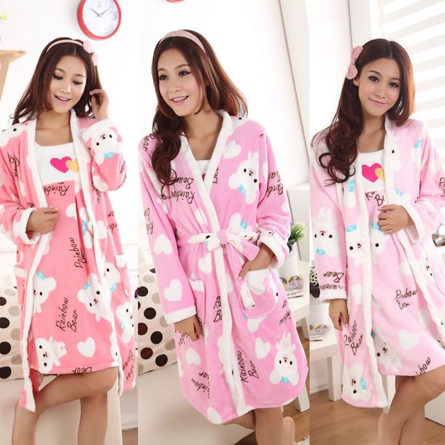 New fashion /Ladies Pajamas sets sexy  thickening cartoon long-sleeve coral fleece sleepwear sling underwear 100% cotton twinset
