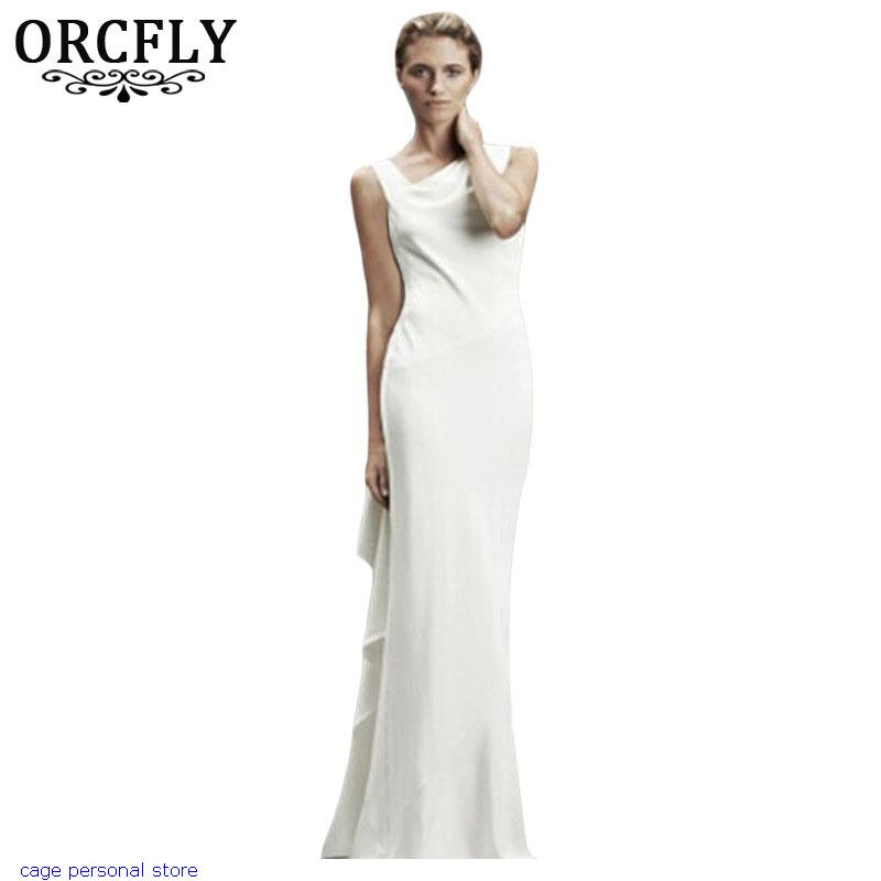 Orcfly bohemian white asymmetric design elegant women long for Bohemian dresses for a wedding guest