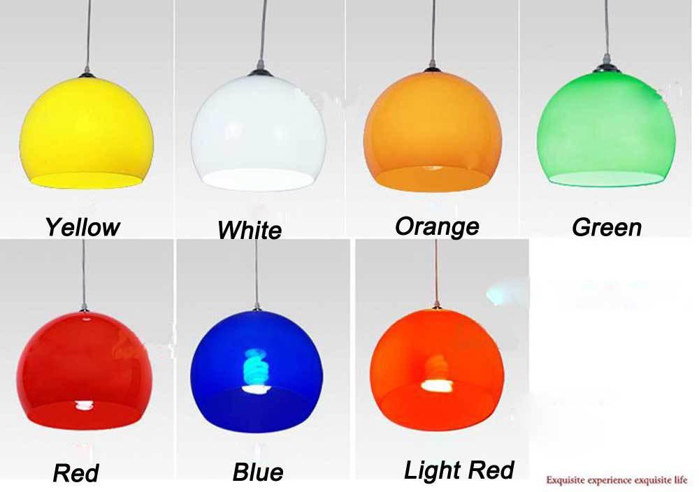 100-240V 20cm Acrylic Pendant Light Red/Green/Yellow/White/Orange/Blue Lampshade E27 Lamp abat jour electrical wiring light(China (Mainland))