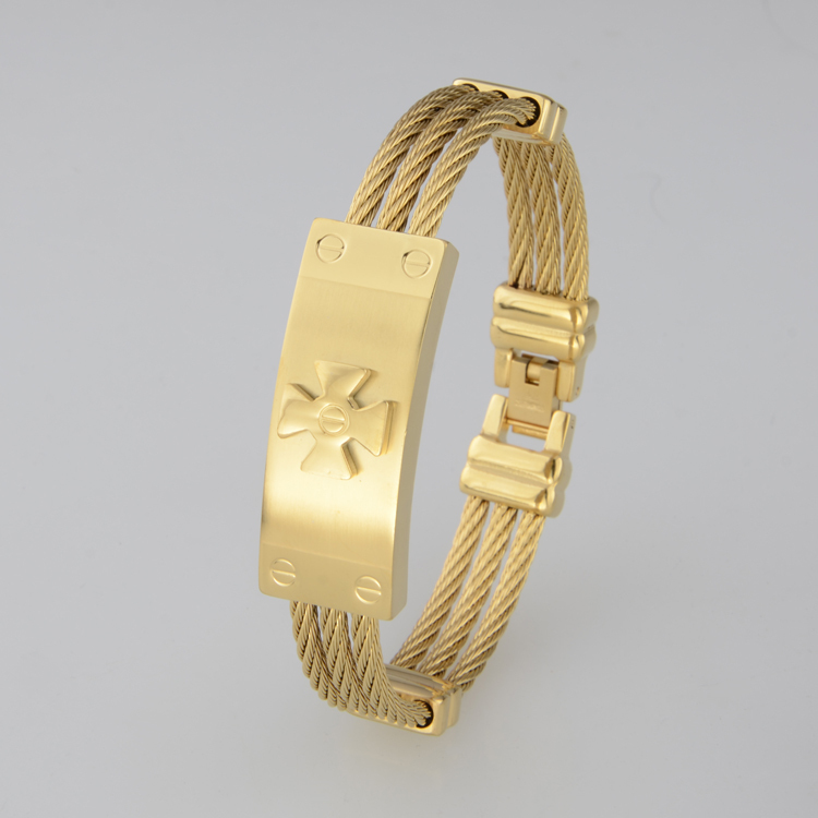 Full 18K Gold Plated Men's Bracelets Bangles Stainless Steel Twisted Wire Charm Famous Brand Men Jewelry - Y-noble store